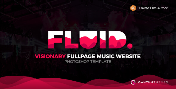 Fluid. Visionary Fullpage Music Photoshop Template