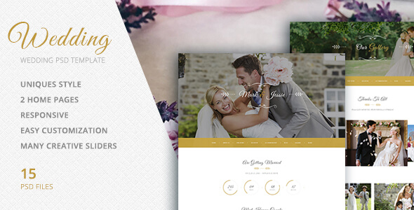 PSD Template for Wedding Events, Organizer, Photo Sessions
