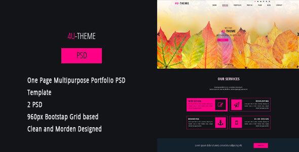 4U-THEME - One Page Multipurpose Portfolio PSD Template