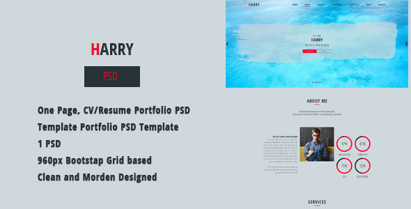 HARRY - CV/Resume Portfolio PSD Template