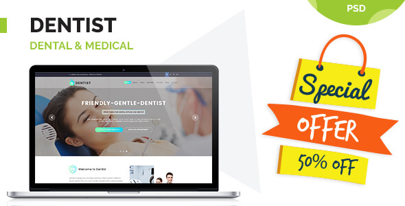 Dentist - Dental & Medical One Page PSD Templates