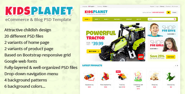 Kids Planet - eCommerce & Blog PSD Template