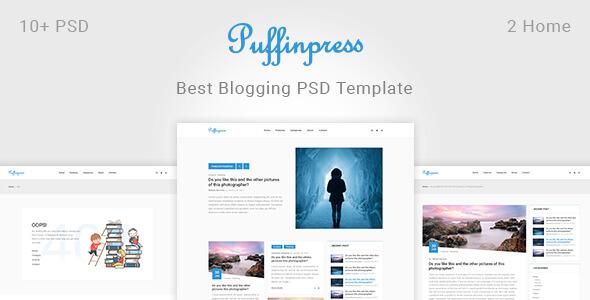 Puffinpress - Creative Blogging PSD Template.
