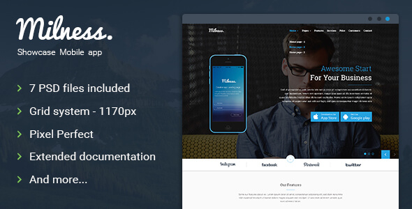 Milness - Showcase App Landing Page