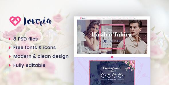 Loveria | Wedding PSD Template