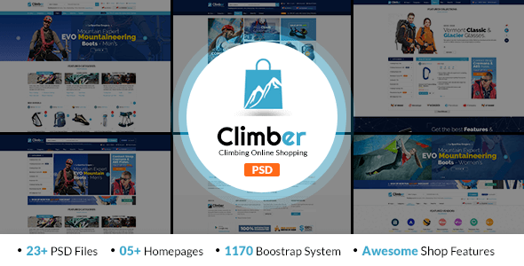 Climber - Travel Accessories PSD Template