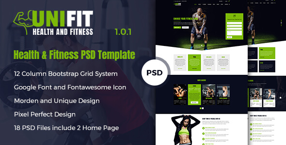 UniFit - Health & Fitness PSD Template