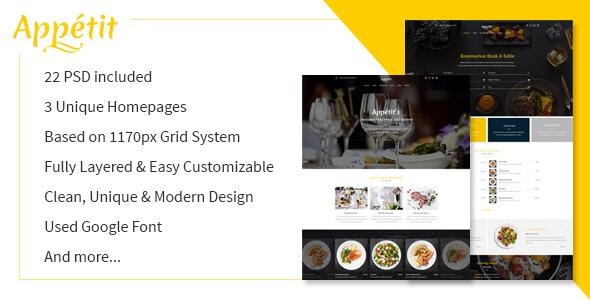 Appetit Restaurants PSD Template