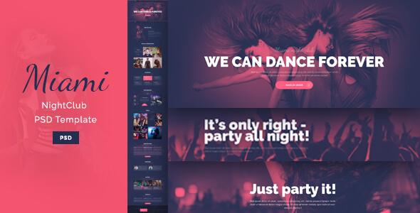 Miami - Stylish NightClub PSD Template