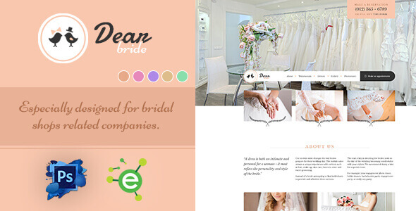 Dear Bride - One Page Wedding Salon PSD Template