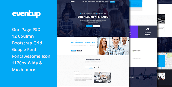 Eventup One Page Conference PSD Template