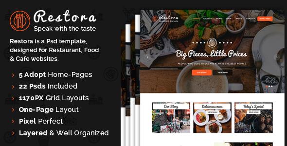 Restora - Restaurant PSD Template