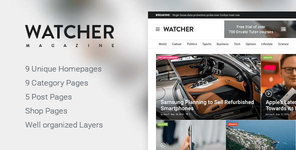 Watcher – Magazine PSD Template