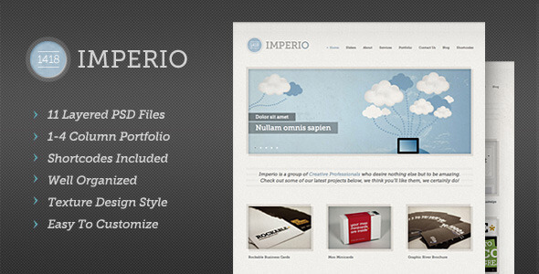 1418 Imperio | Modern PSD Template