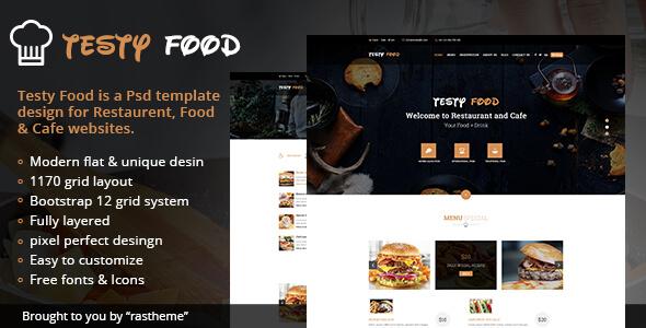 Testy Food - Cafe, Bar, Food & Restaurant PSD Template