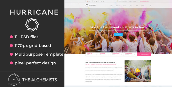 Hurricane - Events | Artists Multipurpose PSD Template