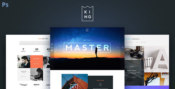 KING - Creative One Page PSD Template