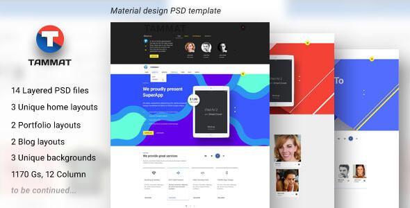Tammat — Material Design PSD Template