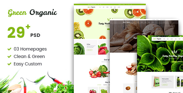 Green Organic - Organic Store & Bakery PSD Templates