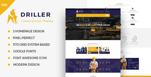 Driller - Construction & Building PSD Template