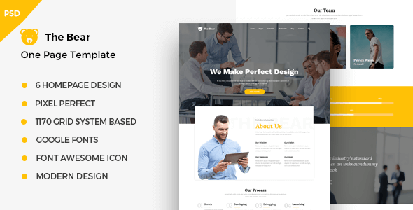 The Bear - One Page PSD Business Template