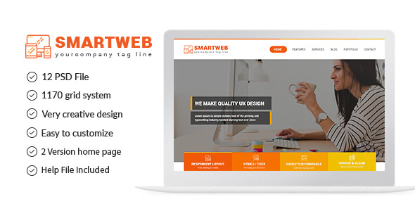 Smartweb - Freelancer Web & Graphic Agency PSD Template