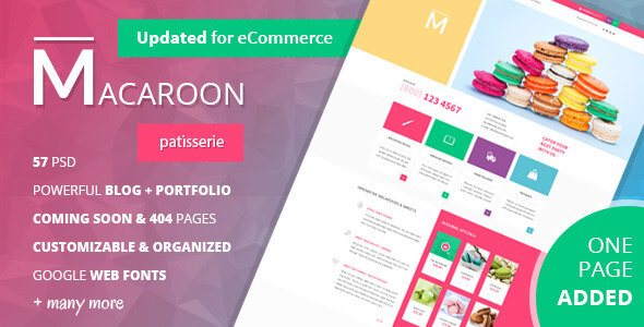 Macaroon - Creative Patisserie PSD Template