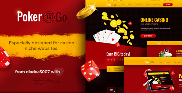 Poker Go - Casino & Gambling Online PSD Template