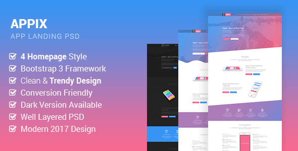 Appix - Creative App Landing Page PSD Template