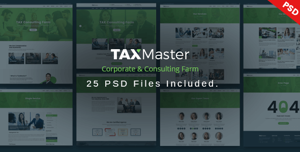 TAXMaster - Tax, Finance, Consulting & Corporate PSD Template