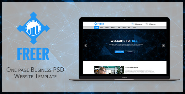FREER - One page Business PSD Website Template