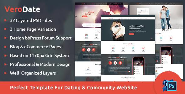VeroDate - Dating Social Network Website PSD Template