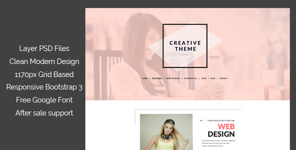 One Page Creative PSD Template