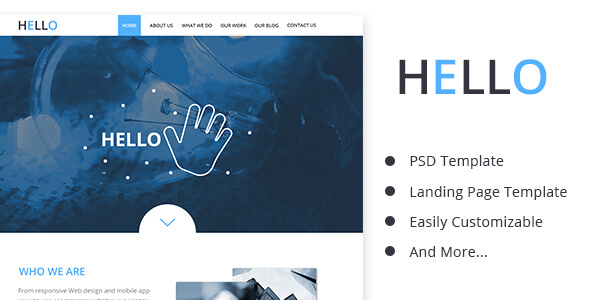 Hello_Business PSD Landing Page Template