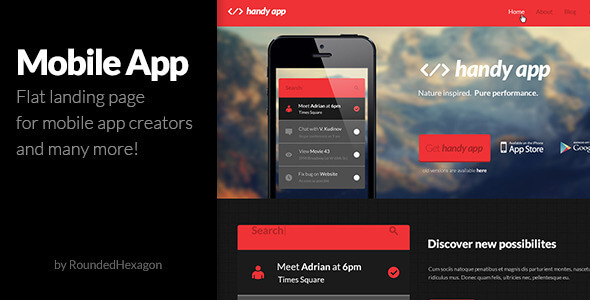 Multipurpose Flat Mobile App PSD Template