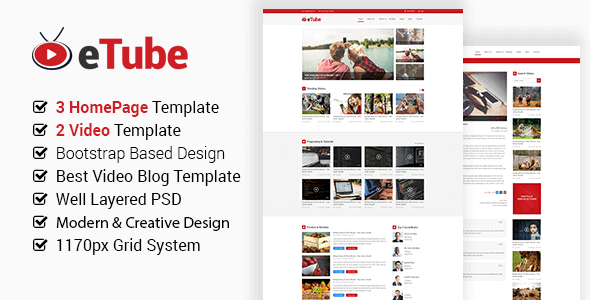 eTube - Video Blog Site PSD Template
