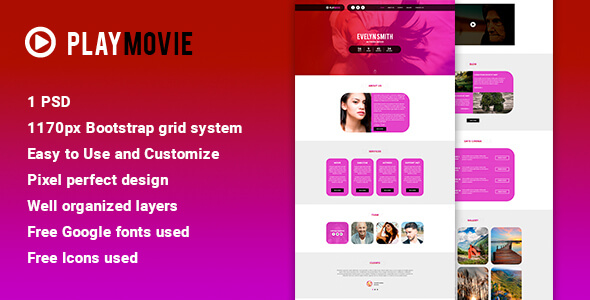 PlayMovie - Video PSD Template