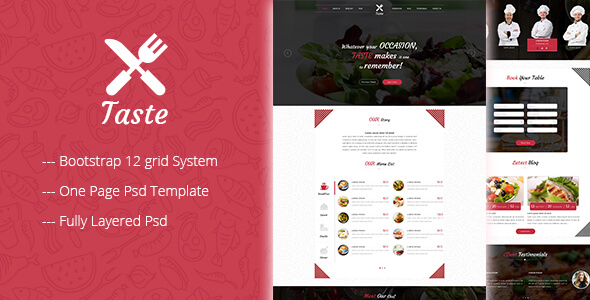 TASTE One Page Restaurant PSD Template