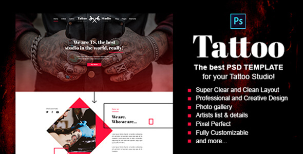 Tattoo - Tattoo Studio PSD Template