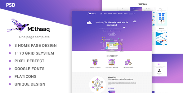 Methaaq-Multi-Purpose One Page PSD Template