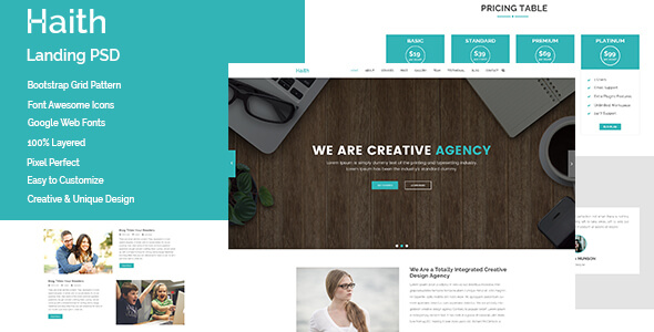Haith Landing Page PSD Template