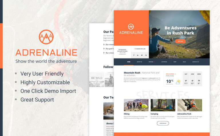 Adrenaline - WordPress theme for adrenaline sports businesses