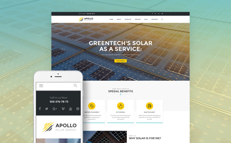 Apollo – Solar Energy Company Responsive WordPress Theme
