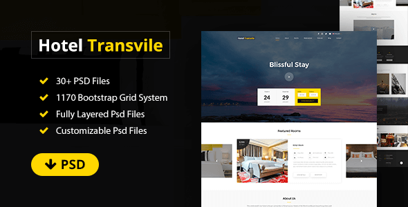 Transvile Hotel PSD Template