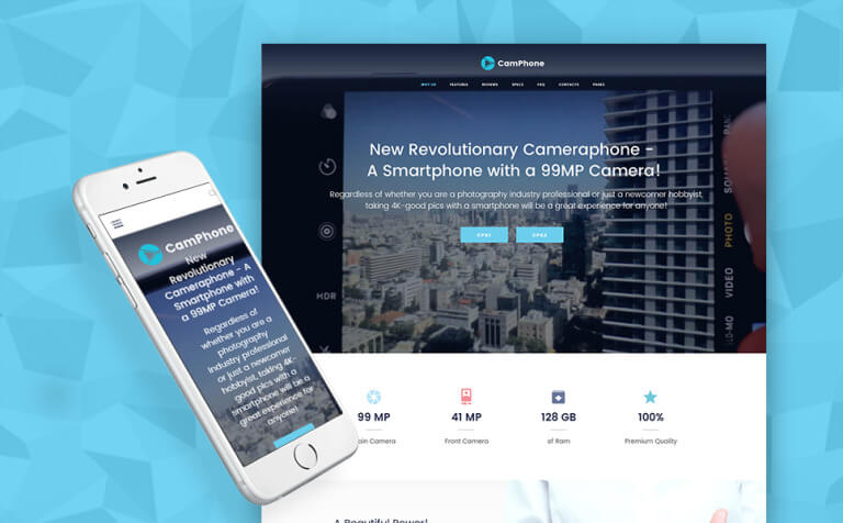 CamPhone - Smartphone Responsive One Page WordPress Theme