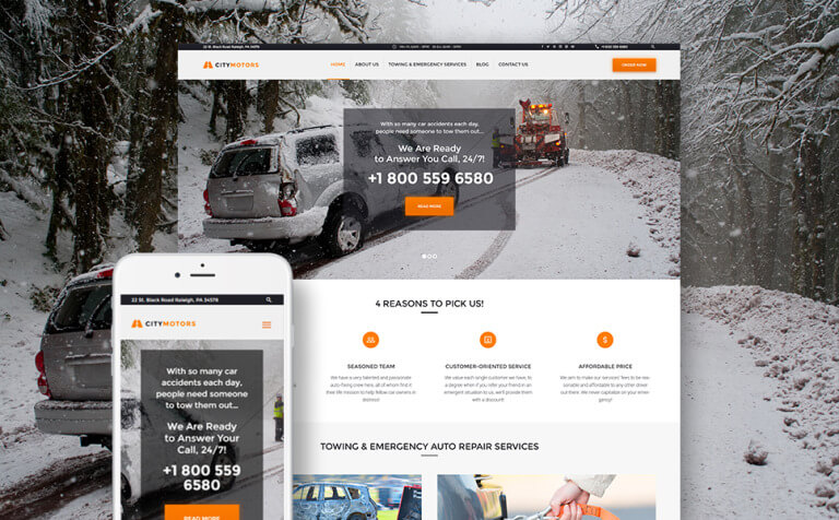 CityMotors - Auto Towing Company WordPress Theme