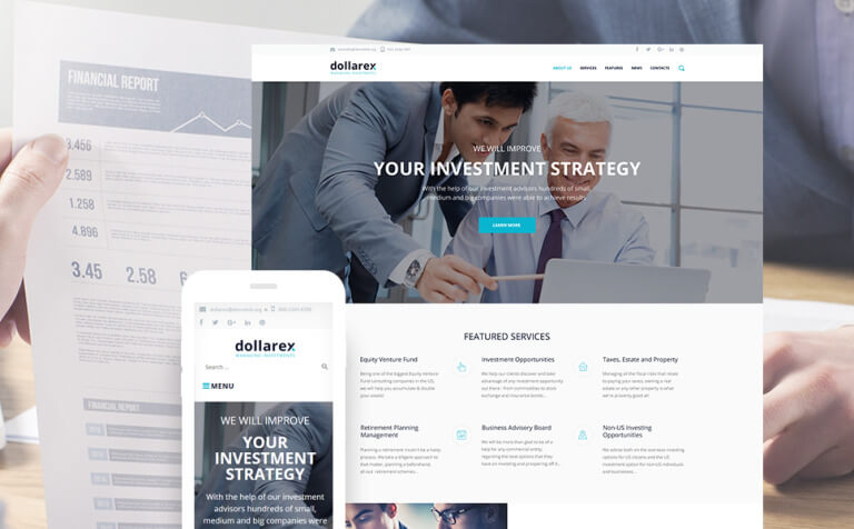 Dollarex - Investment Company & Finance WordPress Theme