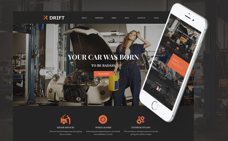 Drift - Car Service WordPress Theme