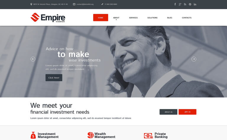 Investment Company Responsive WordPress Theme