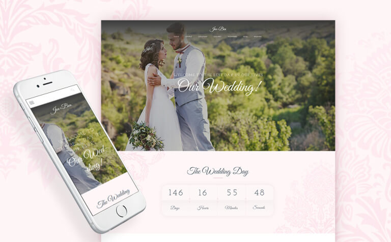 Jen+Ben – One Page Wedding WordPress Theme